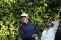 Cameron Champ watches his tee shot on the second hole during a practice round for the Masters golf tournament on Wednesday, April 7, 2021, in Augusta, Ga. (AP Photo/Charlie Riedel)