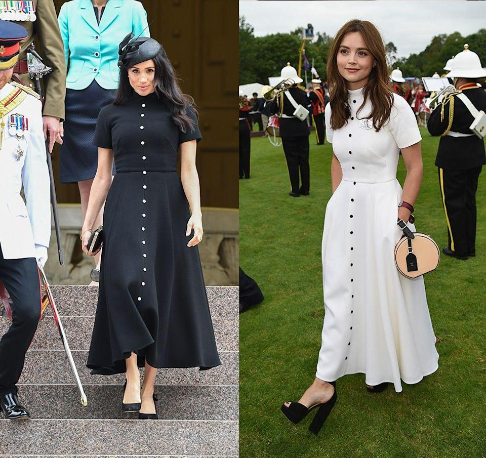 "<p>Jenna Coleman made headlines when she wore the <a href=""https://www.harpersbazaar.com/celebrity/latest/a23984915/meghan-markle-jenna-coleman-emilia-wickstead-dress-royal-tour/"" rel=""nofollow noopener"" target=""_blank"" data-ylk=""slk:same Emilia Wickstead dress"" class=""link rapid-noclick-resp"">same Emilia Wickstead dress </a> that the Duchess of Sussex wore in October 2018. However, Coleman opted for a more summery take on the look by picking up the dress in white.</p>"