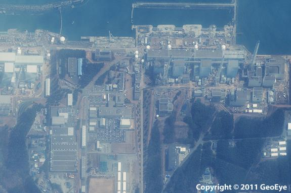 This half-meter resolution satellite image was taken of the Fukushima Daiichi nuclear power plant three days after a 9.0 magnitude earthquake struck the Oshika Peninsula on March 11, 2011.The image was taken by the GeoEye-1 satellite from 423 m