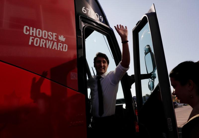 Liberal leader and Canadian Prime Minister Justin Trudeau campaigns for the upcoming election in the Hamilton Fire Department in Hamilton