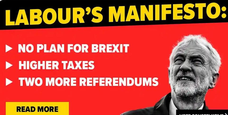 Conservatives' fake Labour policy manifesto (Photo: HuffPost UK)