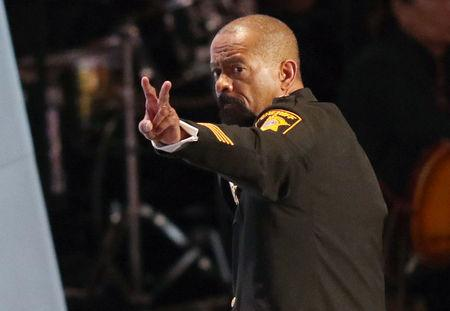 FILE PHOTO - Milwaukee County Sheriff David Clarke gestures after speaking at the Republican National Convention in Cleveland
