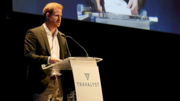 PHOTO: Prince Harry speaks as he attends a sustainable tourism summit at the Edinburgh International Conference Centre, Feb. 26, 2020, in Edinburgh, Scotland. (Andrew Milligan/Getty Images)
