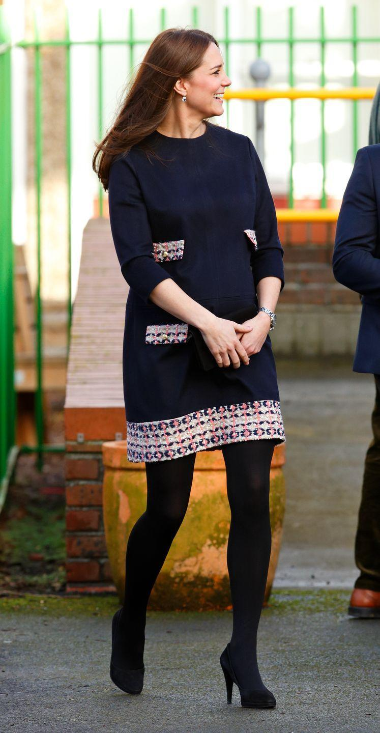 <p>Kate Middleton chose a playful embroidered shift dress for an engagement in 2015. The look was a departure from her typical maternity wardrobe, which usually incorporated more structured pieces.</p>