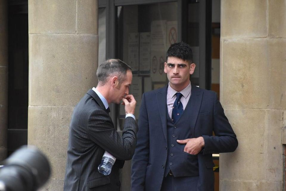 John Finnegan (left) and Rhys Matcham outside Leicester Magistrates' Court, where they are on trial accused of breaching the 2004 Hunting Act (Matthew Cooper/PA)