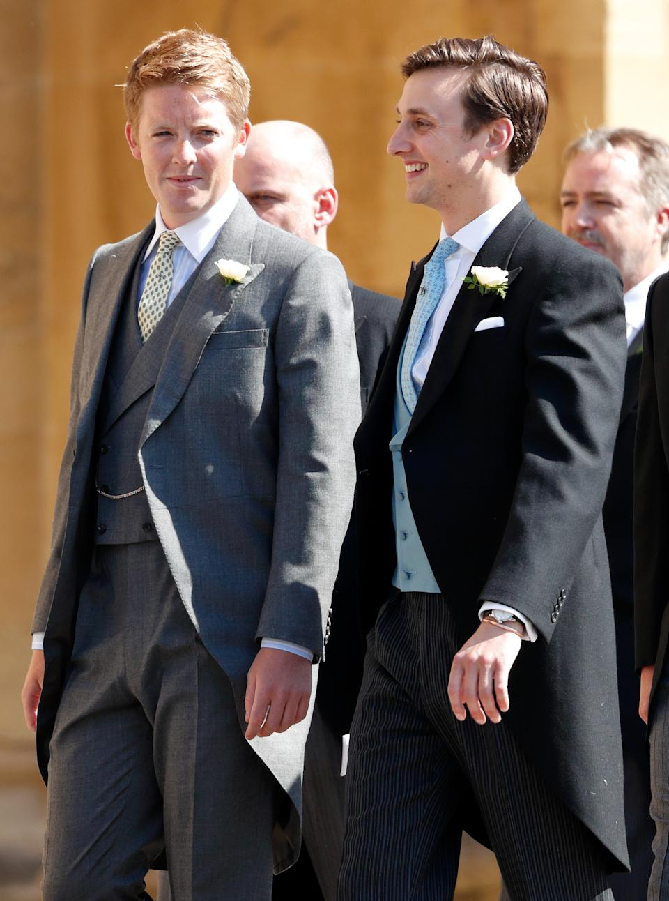 WINDSOR, UNITED KINGDOM - MAY 19: (EMBARGOED FOR PUBLICATION IN UK NEWSPAPERS UNTIL 24 HOURS AFTER CREATE DATE AND TIME) Hugh Grosvenor, Duke of Westminster and Charlie van Straubenzee attend the wedding of Prince Harry to Ms Meghan Markle at St George's Chapel, Windsor Castle on May 19, 2018 in Windsor, England. Prince Henry Charles Albert David of Wales marries Ms. Meghan Markle in a service at St George's Chapel inside the grounds of Windsor Castle. Among the guests were 2200 members of the public, the royal family and Ms. Markle's Mother Doria Ragland. (Photo by Max Mumby/Indigo/Getty Images)