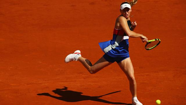 Alison Van Uytvanck had her moments against Caroline Wozniacki, but the world number two ultimately won comfortably.