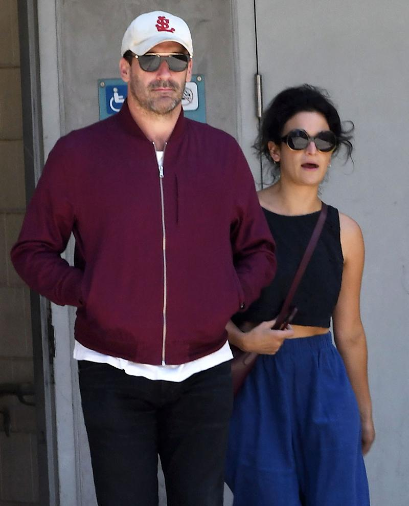Jon Hamm and Jenny Slate leave the Cinerama Dome together on June 10