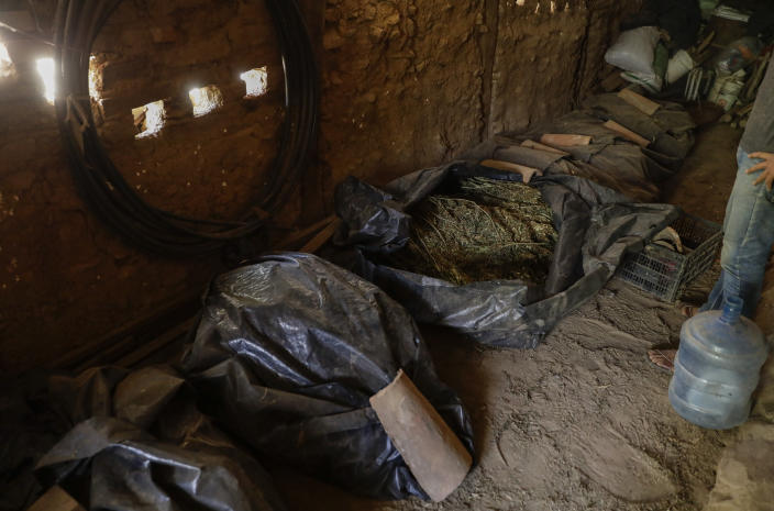 Bags of marijuana wait to be cleaned in a warehouse in the mountains surrounding Badiraguato, Sinaloa state, Mexico, Tuesday, April 6, 2021. Decades ago, marijuana was such a big business that it was carried out of the mountains on airplanes that landed on dirt roads. Now it's sold locally. (AP Photo/Eduardo Verdugo)