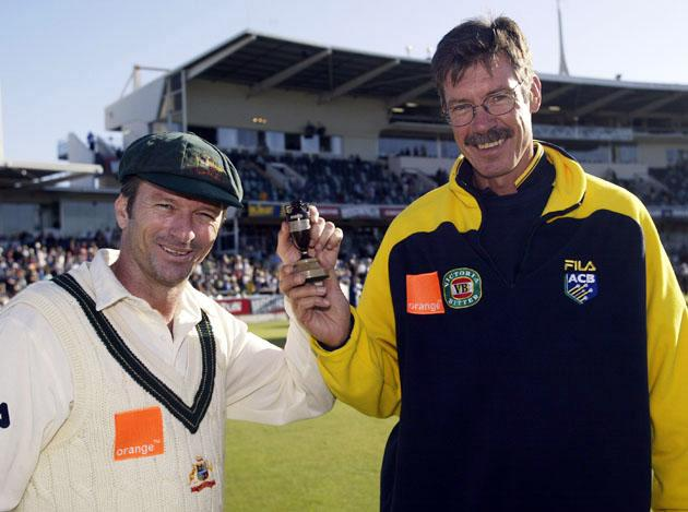 Steve Waugh and John Buchanan of Australia with a replica urn after winning the match to retain The Ashes with an unbeatable 3 - 0 lead in the series during day three of the Third Ashes Test between Australia and England held at the WACA in Perth, Australia on December 1, 2002. (Photo by Hamish Blair/Getty Images)