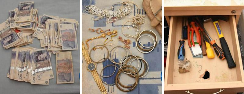 Cash, jewellery and tools recovered by police at the home addresses of five members of the Romanian burglary gang. (PA)