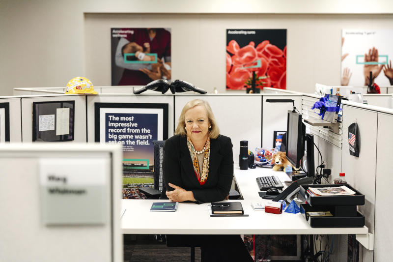 Whitman at HPE headquarters in Palo Alto. Her co-workers gave her boxing gloves when she became CEO.