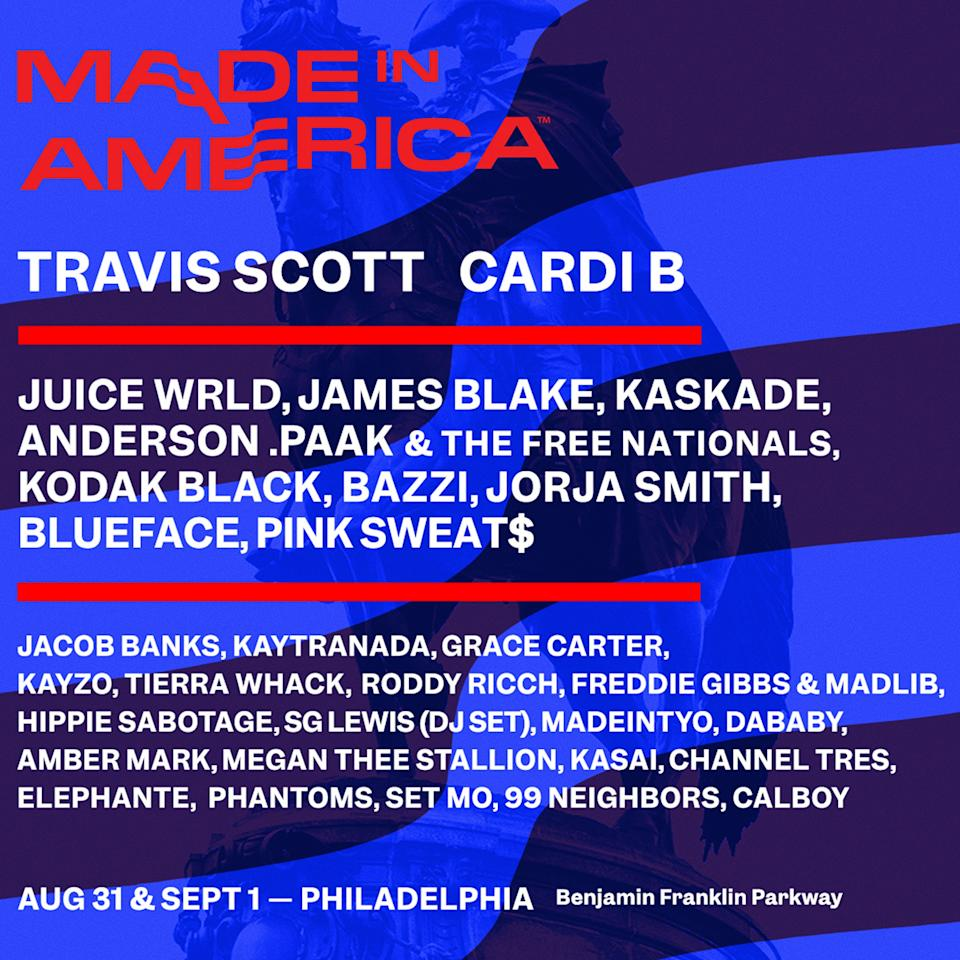 "<strong>WHERE:</strong> Benjamin Franklin Parkway, Philadelphia, PA  <strong>WHEN:</strong> Aug. 31-Sept. 1  <strong>WHO'S PLAYING:</strong> <a href=""https://people.com/tag/travis-scott/"">Travis Scott</a>, Cardi B, James Blake, Kaskade, Anderson .Paak  <strong>TICKETS:</strong> <a href=""https://www1.ticketmaster.com/event/0200556FCDAD66B0?did=tidal&irgwc=1&clickid=R8Y2ZR0lAxyJTZb0EWQ:NRupUkl2vB1zhSKkSk0&camefrom=CFC_BUYAT_258046&impradid=258046&REFERRAL_ID=tmfeedbuyat258046&wt.mc_id=aff_BUYAT_258046&utm_source=258046-Tidal&impradname=Tidal&utm_medium=affiliate"" target=""_blank"" rel=""nofollow"">Click to purchase</a>"