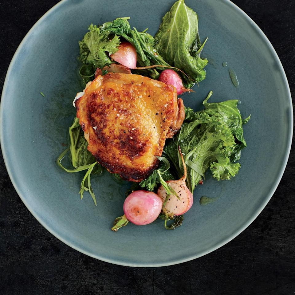 """Boredom? Never. Try swapping in baby turnips for the radishes and kale or Swiss chard for the mustard greens in this effortless dish. <a href=""""https://www.epicurious.com/recipes/food/views/vinegar-marinated-chicken-with-buttered-greens-and-radishes-56389531?mbid=synd_yahoo_rss"""" rel=""""nofollow noopener"""" target=""""_blank"""" data-ylk=""""slk:See recipe."""" class=""""link rapid-noclick-resp"""">See recipe.</a>"""