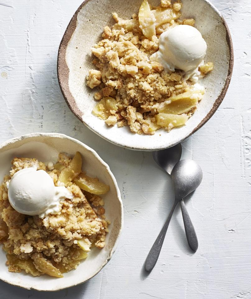 """<p>A cross between an apple cake and an apple crisp, this dessert is the ultimate autumn treat. A buttery brown sugar streusel adds an element of crunch to the soft, juicy apples.</p> <p> <strong>Get the recipe:</strong> <a href=""""https://www.realsimple.com/food-recipes/browse-all-recipes/apple-streusel-dump-cake"""" target=""""_blank"""">Apple Streusel Dump Cake</a></p>"""