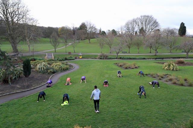 "People taking part in a ""Boot Camp"" exercise class in Rothwell, Leeds"