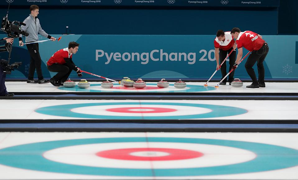 <p>Switzerland populate the head in end 9 at the Gangneung Curling Centre during day thirteen of the PyeongChang 2018 Winter Olympic Games in South Korea. PRESS ASSOCIATION Photo. Picture date: Thursday February 22, 2018. See PA story OLYMPICS Curling. (Getty) </p>