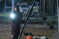 """This image released by Universal Pictures shows Kyle Richards in """"Halloween Kills,"""" directed by David Gordon Green. (Ryan Green/Universal Pictures via AP)"""