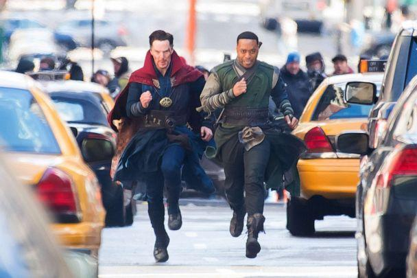 PHOTO: Actors Benedict Cumberbatch (L) and Chiwetel Ejiofor are seen filming 'Doctor Strange' on April 3, 2016, in New York City. (Michael Stewart/Getty Images)