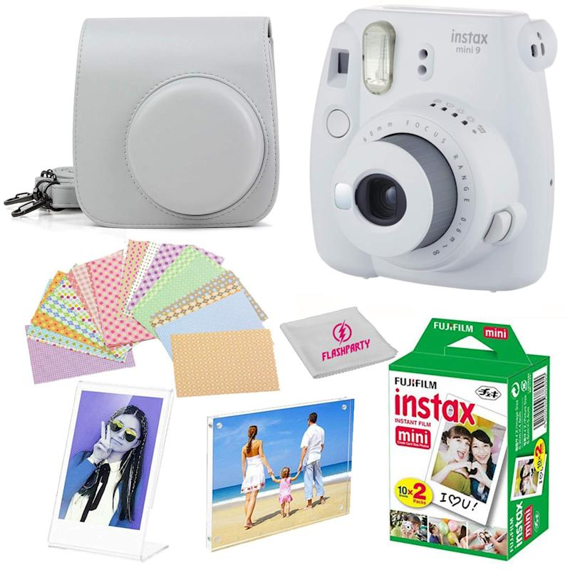 Fujifilm Instax Mini 9 instant Fuji Camera SMOKEY WHITE+ Camera Case + instant Mini 9 Film Twin Pack + instax Picture Frame + Magnet Frame + 20 Border Stickers Kit +FREE Cleaning cloth