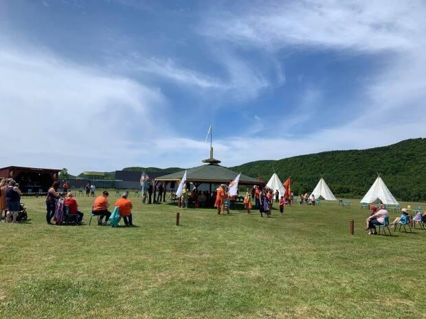 Members of the Miawpukek First Nation celebrated the beginning of their annual powwow Saturday. (Submitted by Danielle Benoit - image credit)