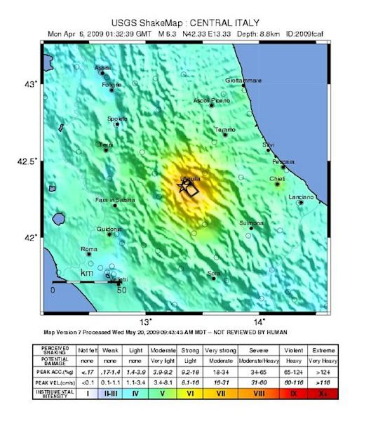 The shaking intensity of the magnitude 6.3 earthquake that struck L'Aquila, Italy on April 6, 2009.