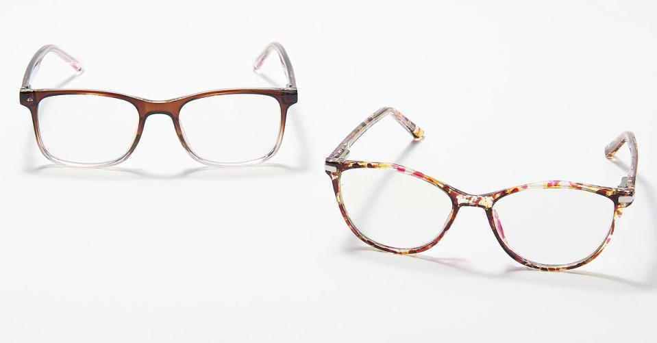 Prive Revaux Dynamic Duo Set of 2 Blue Light Readers in Pink Tort/Brown. (Photo: QVC)