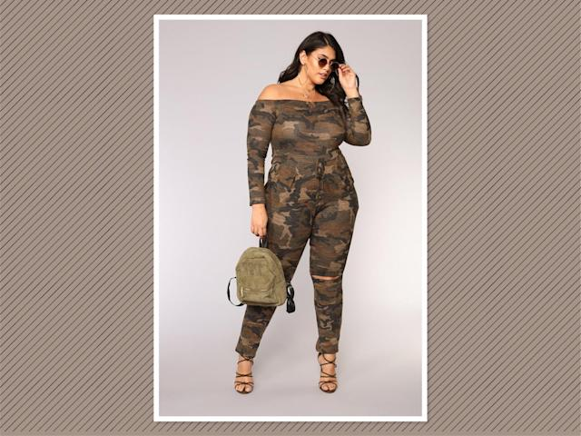 "<p>Accord Camo Jumpsuit, $33, <a href=""https://www.fashionnova.com/collections/plus/products/accord-camo-jumpsuit-camo"" rel=""nofollow noopener"" target=""_blank"" data-ylk=""slk:Fashion Nova"" class=""link rapid-noclick-resp"">Fashion Nova</a> (Photo: Fashion Nova) </p>"