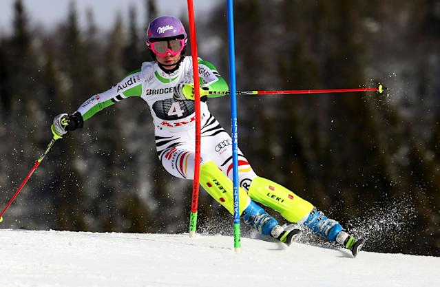 Germany's Maria Hoefl-Riesch competes during the first run of an alpine ski women's World Cup slalom, in Are, Sweden, Saturday, March 8, 2014. (AP Photo/Alessandro Trovati)