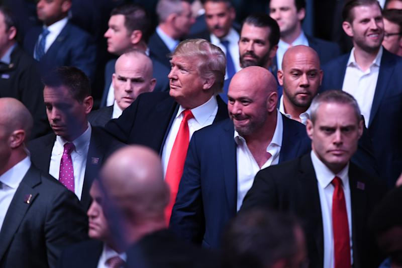 NEW YORK, NEW YORK - NOVEMBER 02: President Donald Trump arrives to the UFC 244 event with Dana White at Madison Square Garden on November 02, 2019 in New York City. (Photo by Josh Hedges/Zuffa LLC via Getty Images)