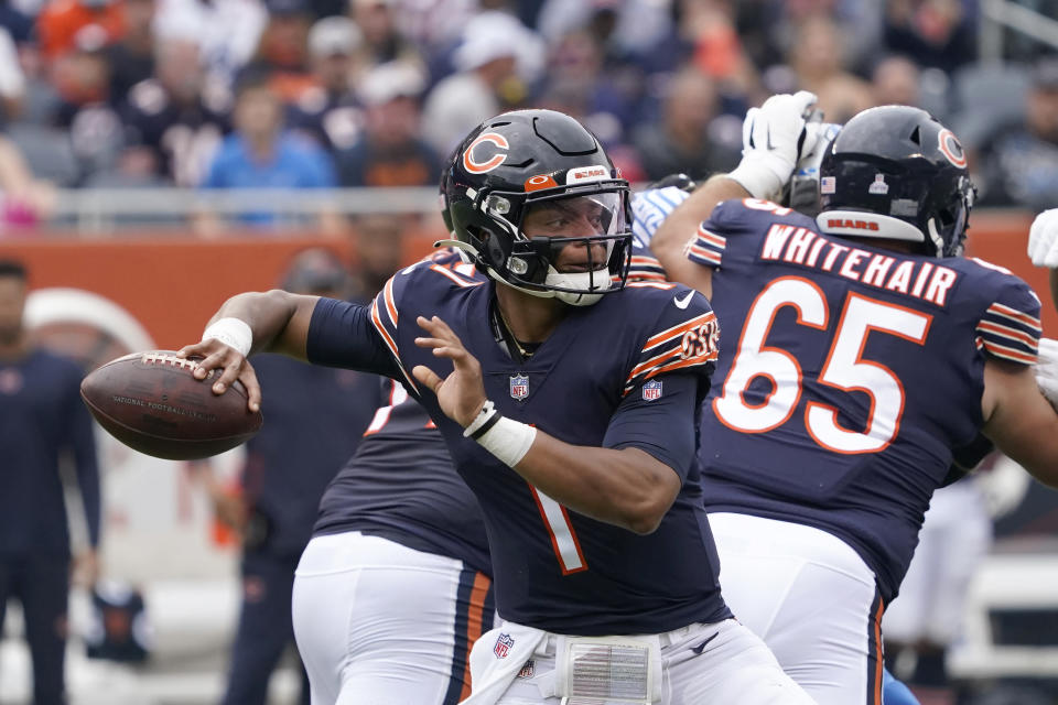 Chicago Bears quarterback Justin Fields passes during the first half of an NFL football game against the Detroit Lions Sunday, Oct. 3, 2021, in Chicago. (AP Photo/David Banks)