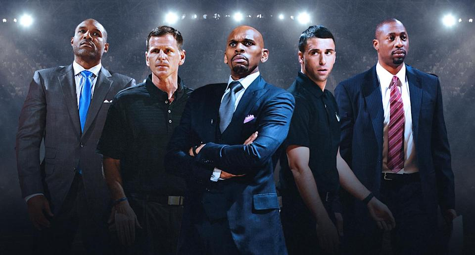 (From left to right) David Vanterpool, Jay Larranaga, Jerry Stackhouse, Ryan Saunders and Adrian Griffin could be next in line for NBA head-coaching jobs. (Amber Matsumoto/Yahoo Sports)