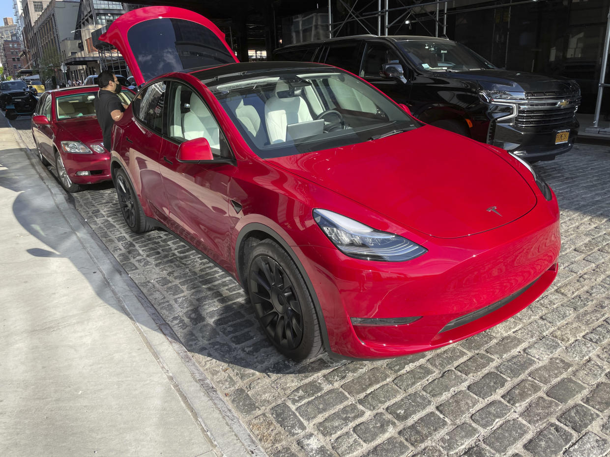 A Tesla dealership in the Meat Packing District in New York City. Photo: AP
