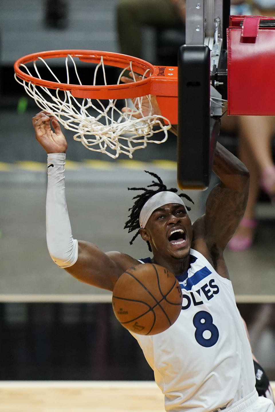 Minnesota Timberwolves forward Jarred Vanderbilt dunks during the first half of an NBA basketball game against the Miami Heat, Friday, May 7, 2021, in Miami. (AP Photo/Wilfredo Lee)