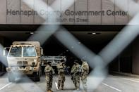 Members of the National Guard providing security at the Hennepin County Government Center where the trial of former police officer Derek Chauvin is being held