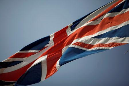 The Union Jack is seen flying in the British overseas territory of Gibraltar