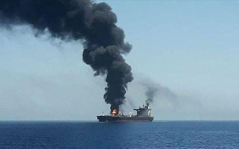 Iranian state television said the explosion damaged two storerooms aboard the unnamed oil tanker - Credit: twitter