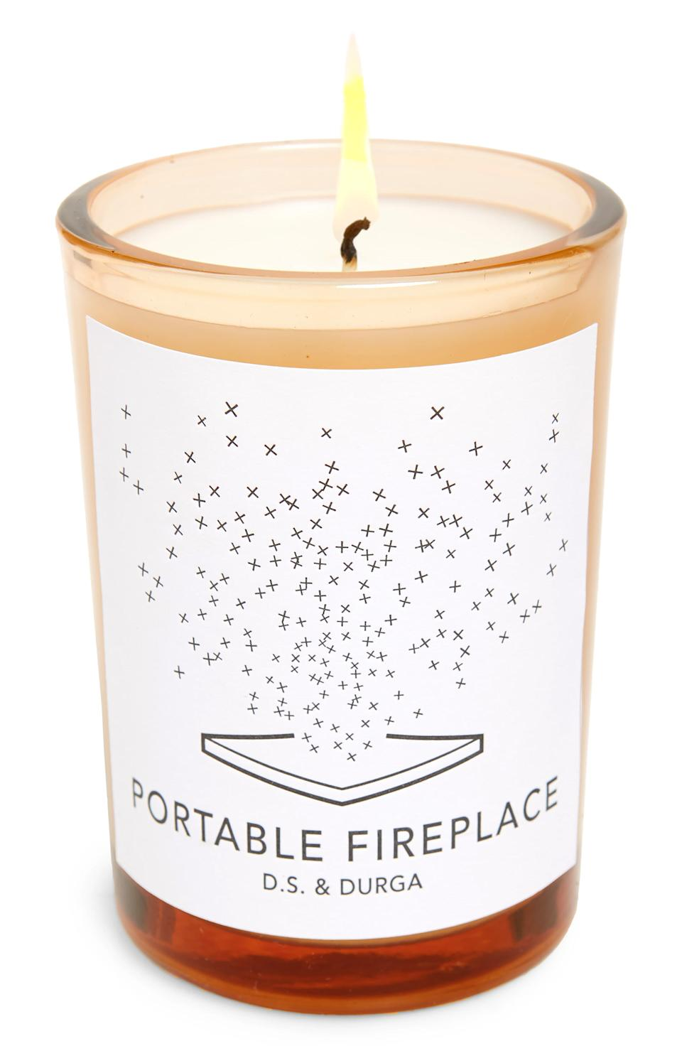 "<h3><a href=""https://shop.nordstrom.com/s/d-s-durga-portable-fireplace-scented-candle/5390596"" rel=""nofollow noopener"" target=""_blank"" data-ylk=""slk:D.S. & Durga Portable Fireplace Candle"" class=""link rapid-noclick-resp"">D.S. & Durga Portable Fireplace Candle</a> </h3><br>This luxury candle — filled with notes of pine to cedar, ash oak, and birch wood — as one <a href=""https://www.amazon.com/D-S-Durga-Portable-Fireplace-Candle/dp/B00VSDMGSM#customerReviews"" rel=""nofollow noopener"" target=""_blank"" data-ylk=""slk:Amazon reviewer"" class=""link rapid-noclick-resp"">Amazon reviewer</a> frankly put it, ""really does smell like a wood fire.""<br><br><strong>D.S. & Durga</strong> Portable Fireplace Candle, $, available at <a href=""https://go.skimresources.com/?id=30283X879131&url=https%3A%2F%2Fneedsupply.com%2Fportable-fireplace-candle%2F5234341.html"" rel=""nofollow noopener"" target=""_blank"" data-ylk=""slk:Need Supply"" class=""link rapid-noclick-resp"">Need Supply</a>"