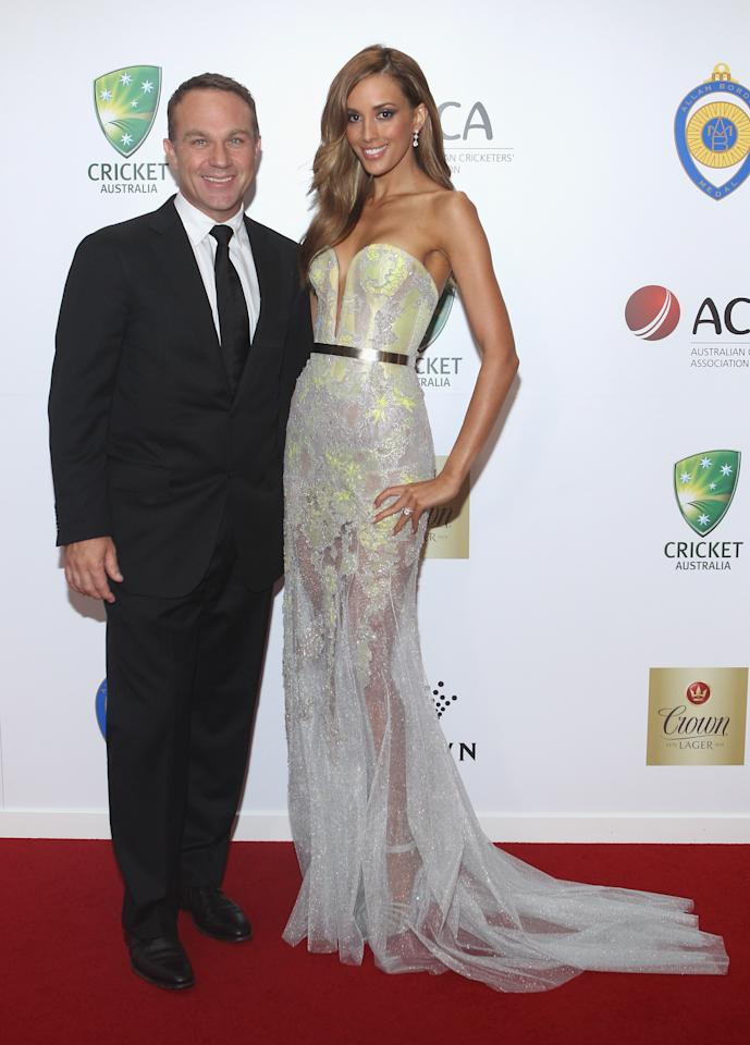 MELBOURNE, AUSTRALIA - FEBRUARY 27: Michael Slater and Rebecca Judd arrive at the 2012 Allan Border Medal Awards at Crown Palladium on February 27, 2012 in Melbourne, Australia.  (Photo by Lucas Dawson/Getty Images)