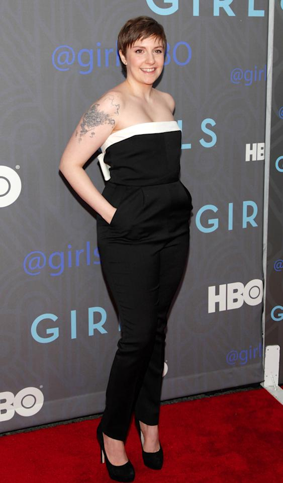 "NEW YORK, NY - JANUARY 09:  ""Girls"" creator Lena Dunham attends HBO hosts the premiere of ""Girls"" Season 2 at the NYU Skirball Center on January 9, 2013 in New York City.  (Photo by Charles Eshelman/FilmMagic)"