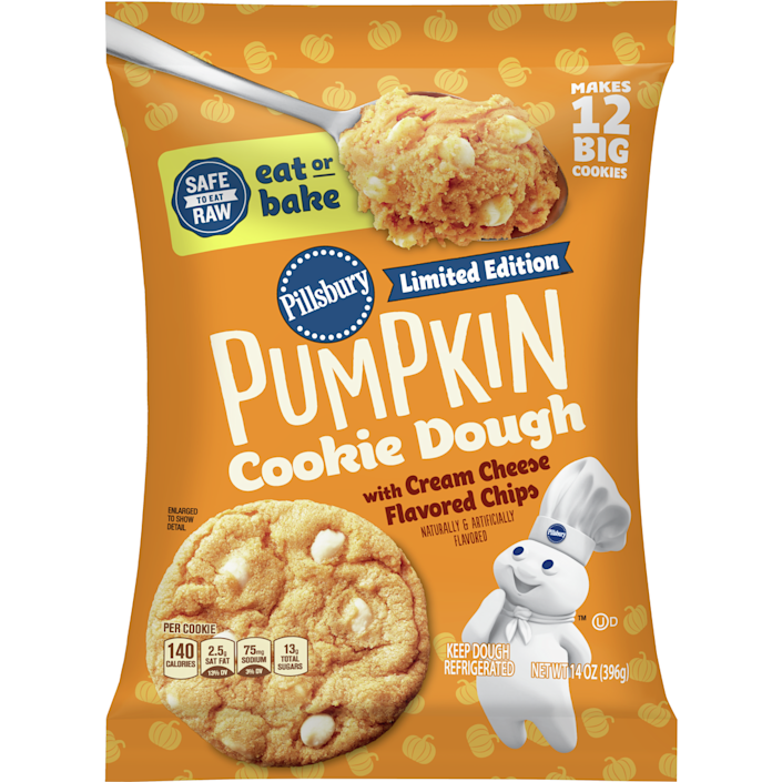 """<p><strong>Pillsbury</strong></p><p>walmart.com</p><p><strong>$2.50</strong></p><p><a href=""""https://go.redirectingat.com?id=74968X1596630&url=https%3A%2F%2Fwww.walmart.com%2Fip%2F46629475%3Fselected%3Dtrue&sref=https%3A%2F%2Fwww.delish.com%2Ffood-news%2Fg22727687%2Ffall-foods-drinks-flavors%2F"""" rel=""""nofollow noopener"""" target=""""_blank"""" data-ylk=""""slk:Shop Now"""" class=""""link rapid-noclick-resp"""">Shop Now</a></p><p>This treat is back again this year but this time it's safe to eat both RAW and BAKED. </p>"""