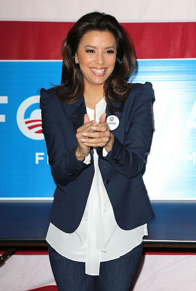 HIALEAH, FL - OCTOBER 27: Actress Eva Longoria participates in Early Vote Canvass Kickoff on October 27, 2012 in Hialeah, Florida. (Photo by Alexander Tamargo/Getty Images)