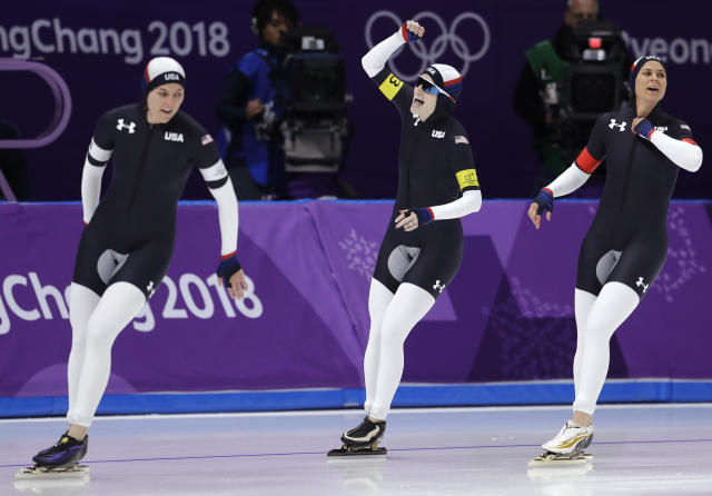 <p>Team U.S.A. with Heather Bergsma, left, Brittany Bowe, right, and Mia Manganello center, celebrates after the quarterfinals of the women's team pursuit speedskating race at the Gangneung Oval at the 2018 Winter Olympics in Gangneung, South Korea, Monday, Feb. 19, 2018. (AP Photo/Petr David Josek) </p>