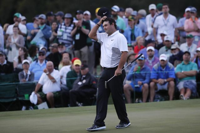 Patrick Reed of the U.S. finishes the day on the 18th green during second round play of the 2018 Masters golf tournament at the Augusta National Golf Club. (REUTERS)