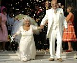 Guardian angel: Mimie Mathy, pictured at her wedding in 2005, is a much-loved French television star, playing an angel with magical powers