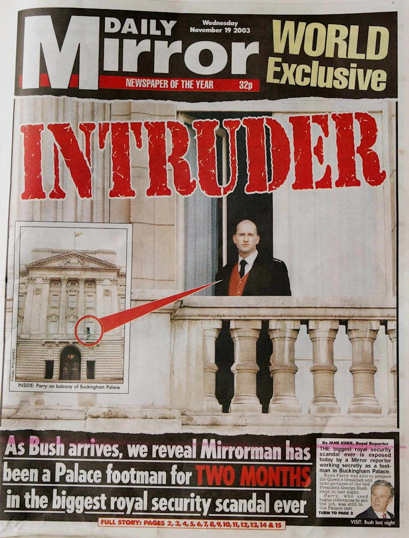 LONDON, UNITED KINGDOM: The front page for the Daily Mirror from 19 November, 2003 is shown displaying the story of how the Mirror was able to have a reporter working in Buckingham Palace in the two months leading up to the state visit of US President George W. Bush. Reporter Ryan Parry claimed that security was so lax he could easily have assassinated US President George W. Bush during his state visit to Britain. AFP PHOTO/ERIC FEFERBERG (Photo credit should read ERIC FEFERBERG/AFP via Getty Images)