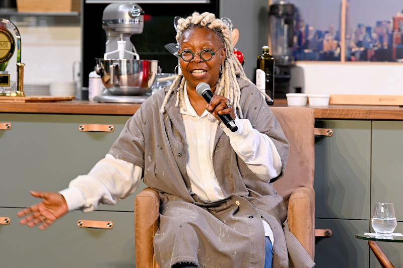NEW YORK, NEW YORK - OCTOBER 13: Whoopi Goldberg speaks onstage during the Grand Tasting presented by ShopRite featuring Culinary Demonstrations at The IKEA Kitchen presented by Capital One at Pier 94 on October 13, 2019 in New York City. (Photo by Dave Kotinsky/Getty Images for NYCWFF)