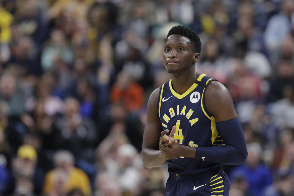 Indiana Pacers' Victor Oladipo (4) enters the game during the first half of an NBA basketball game against the New York Knicks, Saturday, Feb. 1, 2020, in Indianapolis. (AP Photo/Darron Cummings)