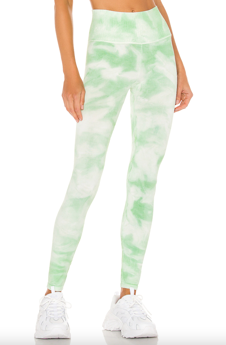Free People Movement 'Good Karma' Tie-Dye Legging in Electric Pistachio (Photo via Revolve)