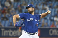 Toronto Blue Jays starting pitcher Robbie Ray delivers in the first inning of the first baseball game of a doubleheader against the Boston Red Sox in Toronto, Saturday Aug. 7, 2021. (Jon Blacker/The Canadian Press via AP)